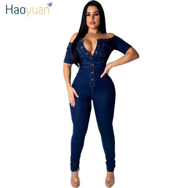 Off Shoulder Denim Rompers Ladies Jumpsuit Elastic