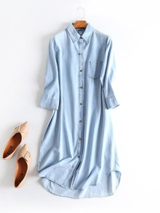 Outsized Denims Shirt Gown Girls Garments