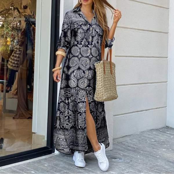 VONDA Girls Gown Summer season Classic Printed Lape
