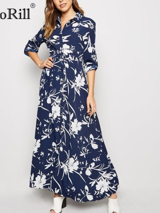 Floral Print Lengthy Ladies Gown Classic Buttons Shirt