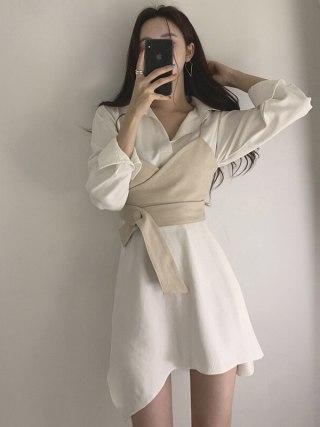 Summer season Girls's Shirt Gown Empire Sashes Patchwork