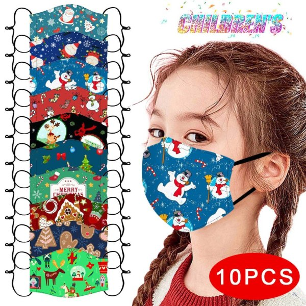 10PC Christmas Face Masks Kids Youngsters