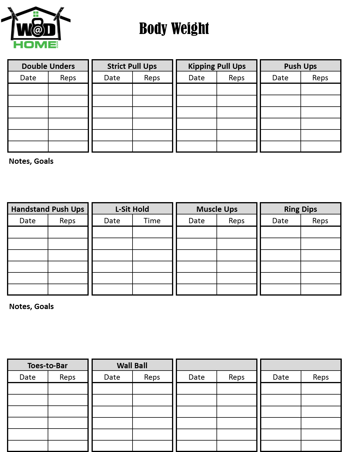Exercise Log Book Template