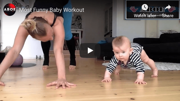 A fun video of babies joining workouts