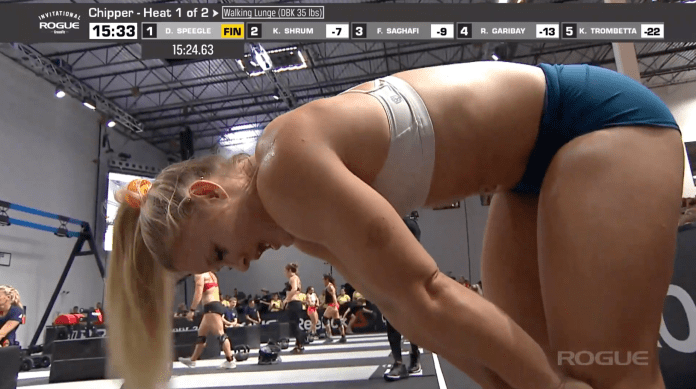 The first heat is won by Dani Speegle. The time to beat for the Rogue Invitational chipper is now 15:24.63.