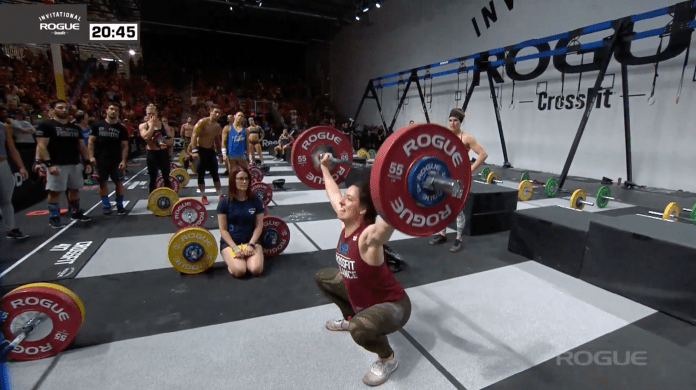 Kaitlyn Meade of CrossFit Balance steps in co complete four incredible heavy snatches well above her best weights.