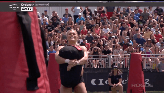 Katrin Davidsdottir battles the Cyclone bag in the Rogue Invitational Cyclone event.