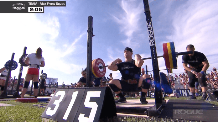 Rich Froning easily front squats an early 315-lbs