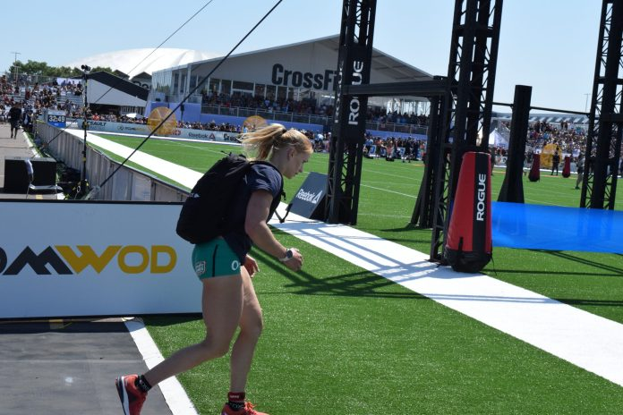 Annie Thorisdottir approaches the finish line of the Ruck Run event at the 2019 CrossFit Games