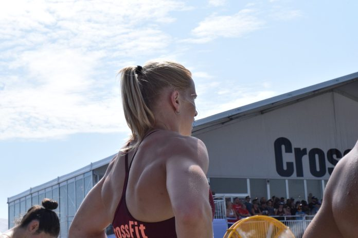 Annie Thorisdottir on the sidelines between heats of the Sprint event at the 2019 CrossFit Games