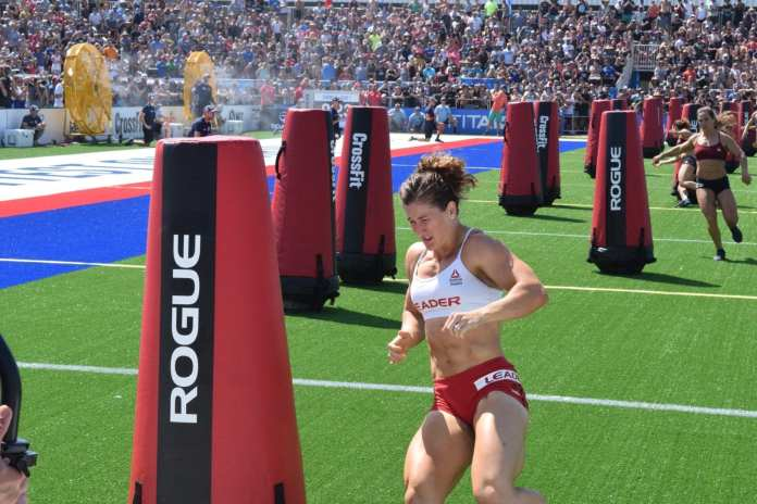Tia-Clair Toomey of Australia competes in the Sprint event at the 2019 CrossFit Games