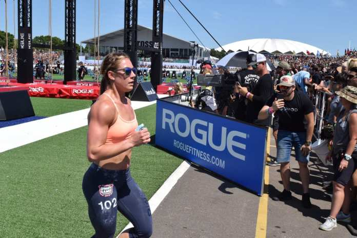 Brooke Wells runs before her legless rope climbs at the 2019 CrossFit Games