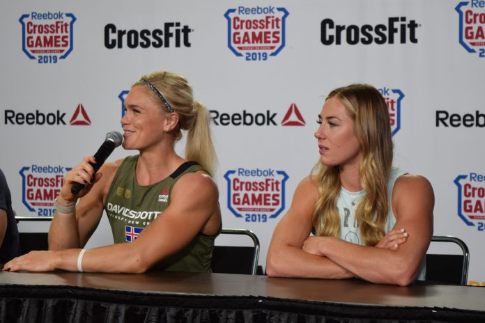 Brooke Wells attends a press conference with Katrin Davidsdottir at the 2019 CrossFit Games.
