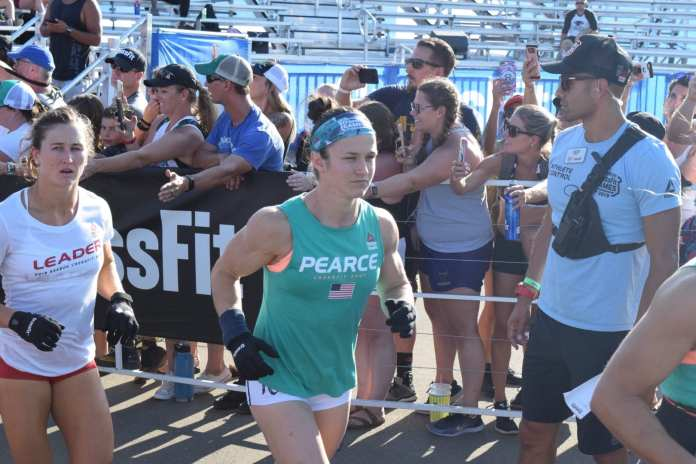 Kari Pearce enters the stadium on the first day of the 2019 CrossFit Games