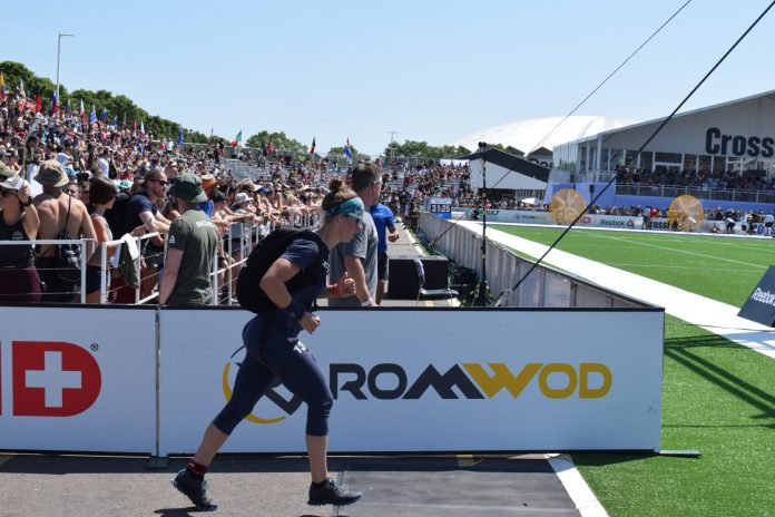 Carole Castellani completes the Ruck Run event at the 2019 CrossFit Games.