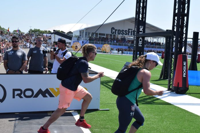 James Newbury of Australia completes the Ruck Run event at the 2019 CrossFit Games