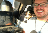 Ben Garves records the WODDITY Podcast in his car with his dog, Beaumont.