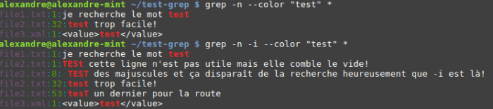 Grep options