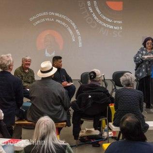 Amalia Mesa-Bains' lovely keynote, to open the Carlos Villa Legacy panel (Jeff Gunderson, Lian Ladia, Theo Gonzalves, Dewey Crumpler) (photo: Lenore Chinn)