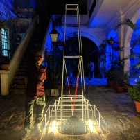 Longtime MOB BFF Denis Lagdameo and his sculpture, Artist Ball, Intramuros