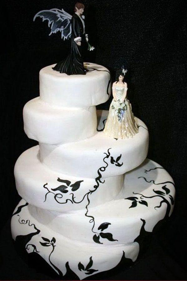 Funny white wedding cake dark themed