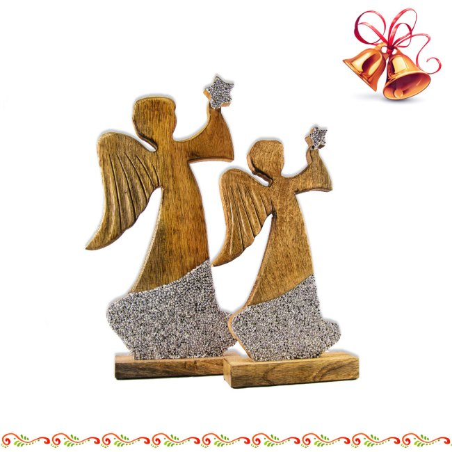 Engel aus mango-Holz mit Strass Silberfarben