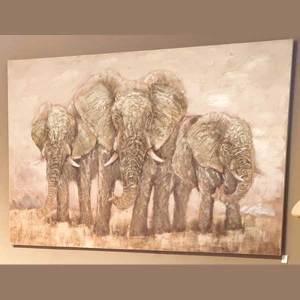 Reliefbild Elefanten Industrie Look