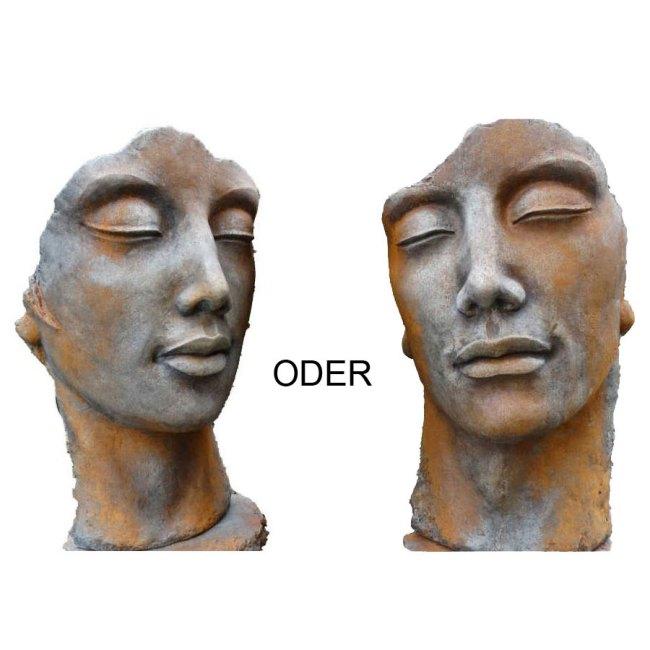 Steinguss Skulptur Mann Frau mit Rosteffekt