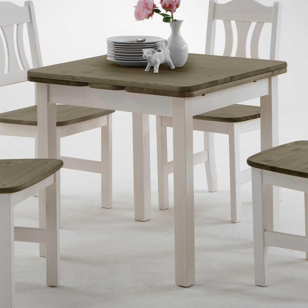 Esstisch Klein Weiß   Tischgruppe Tisch + 2 Stühle Kleine Küche Kiefer Massiv