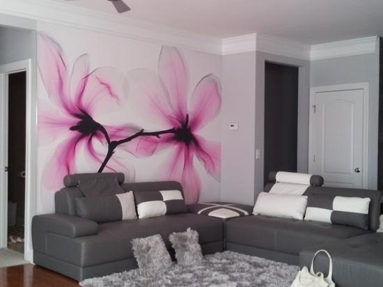 Kreative Ideen Fur Wandgestaltung Im Wohnzimmer Mit Blumenmotiven ... Ideen Fur Wohnzimmer Wandgestaltung