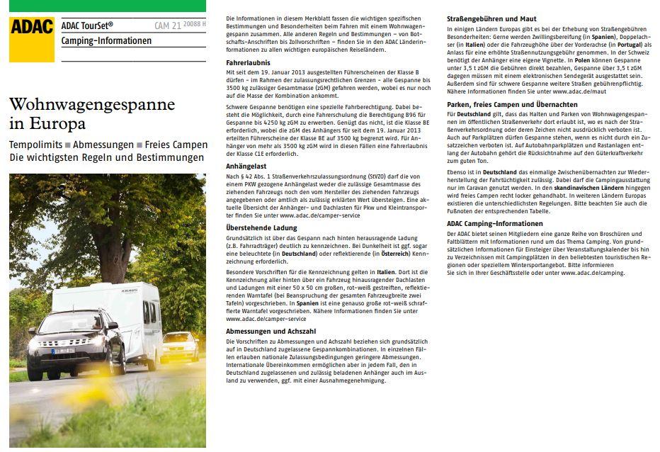 Wohnwagengespanne in Europa Tempolimits Abmessungen freies Campen