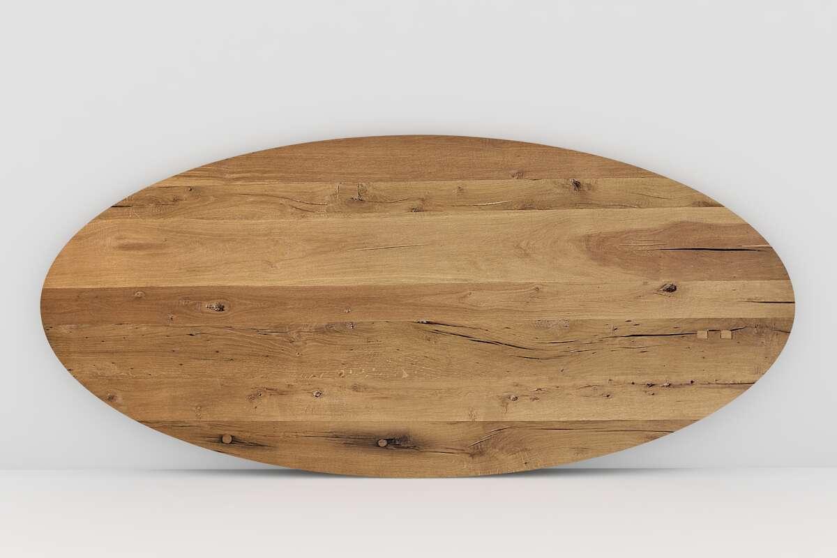 Alte Eiche massiv Tischplatte oval nach Ma  Wohnsektion