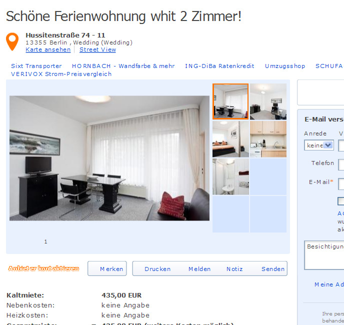 Schne Wohnung voll mbliert 2 Zimmer 54m  Gegen