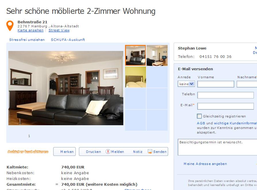 Sehr schne mblierte 2Zimmer Wohnung Behnstrae 21 22767 Hamburg  Gegen Wohnungsbetrug