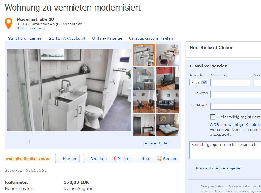 gleberrichardyahoocom alias Herr Gleber Richard Wohnung zu vermieten modernisiert