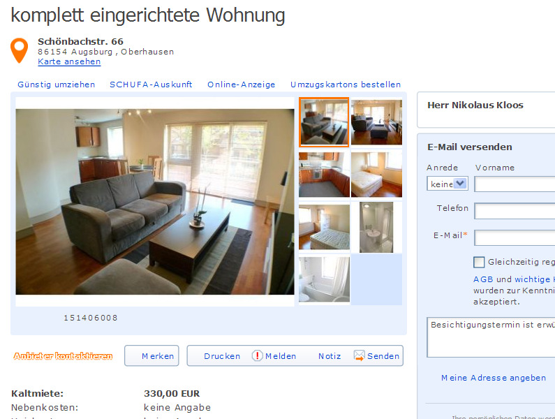 komplett eingerichtete Wohnung GustavHeinemannStr 62 28215 Bremen  Gegen Wohnungsbetrug