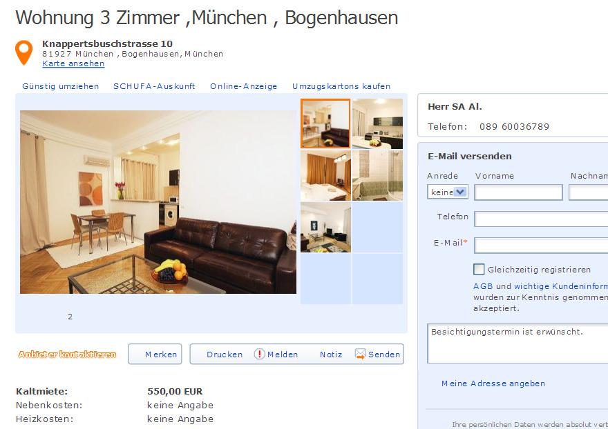 Wohnung 3 Zimmer Aachen Laurensberg SchlossRaheStr 19 52072 Aachen  Gegen Wohnungsbetrug