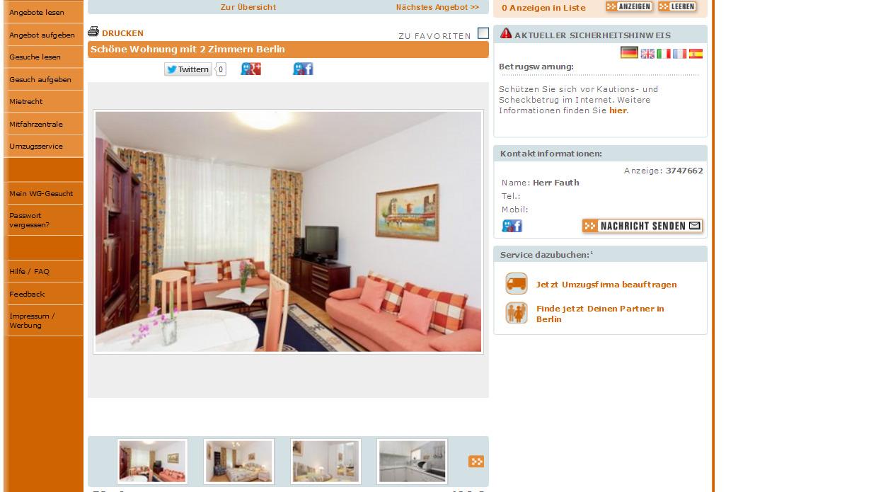 Wohnung voll mit 2 Zimmern eingerichtet Hamburg  Gegen Wohnungsbetrug against rental scammers