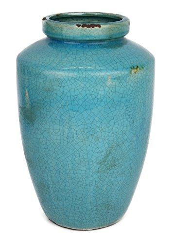 Hochwertige Used Look Vase Trkis 940  Keramik  Unikat  28 x 19 x 19 cm