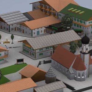 Dorfplatz Wallgau im 3D-Modell