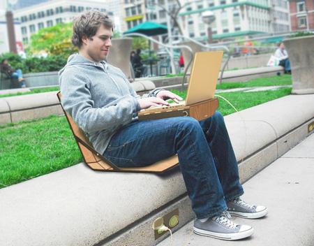 A Laptop Bag Thats Also A Desk And A Chair Wow woikr