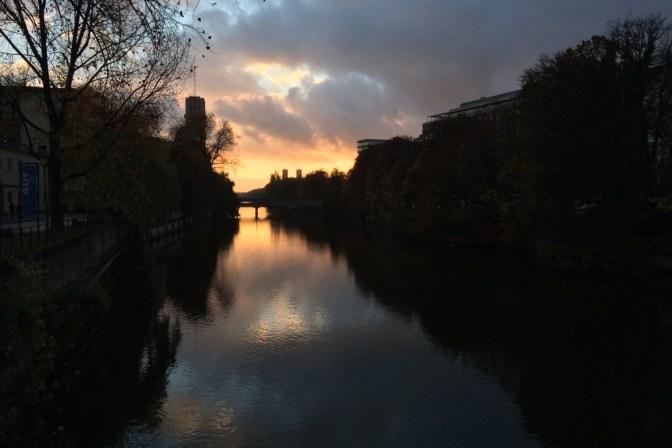 Foto Isar bei Sonnenuntergang
