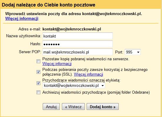 Importowanie kont do Gmail 6