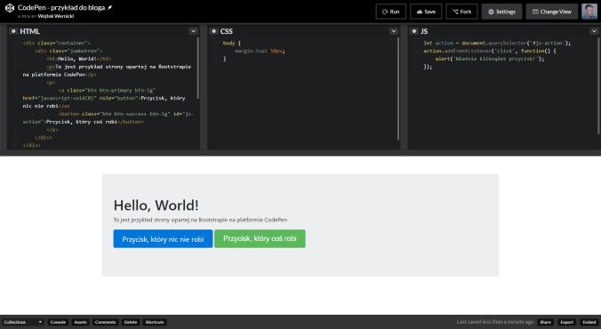 CodePen — wygląd i kod strony