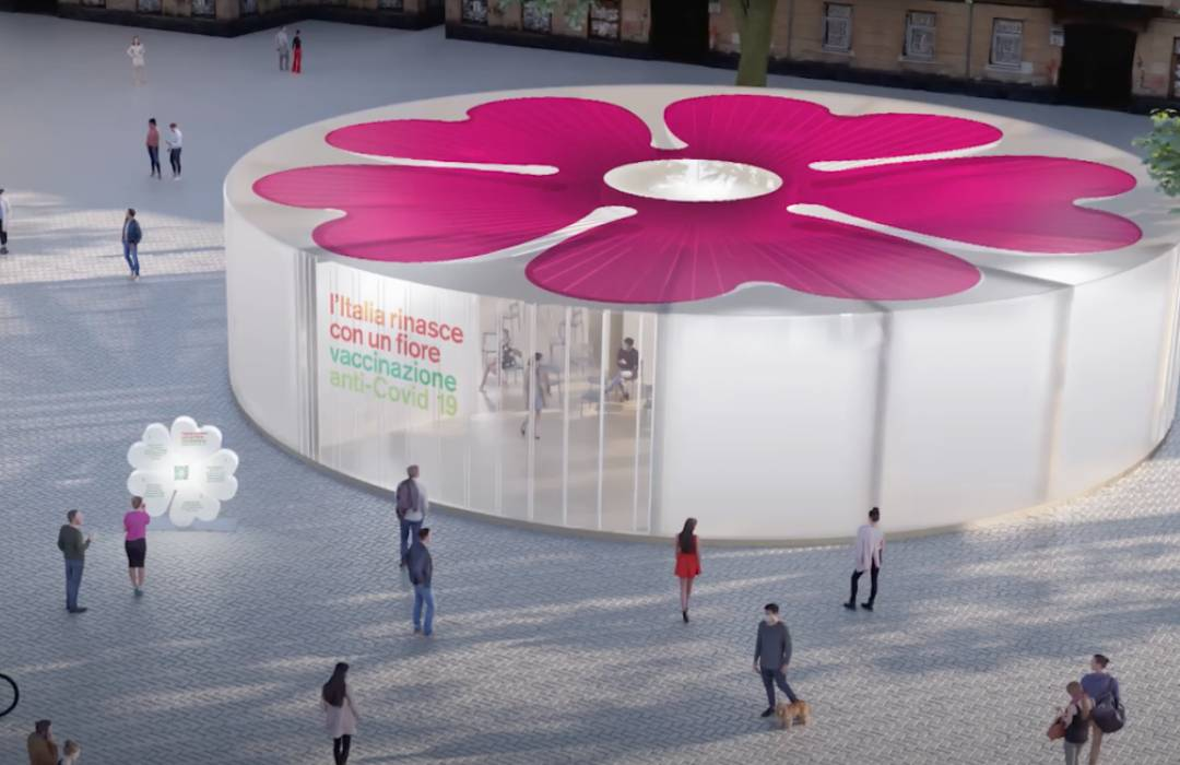 Instalarán en Italia pabellones en forma de flor  para administrar la vacuna