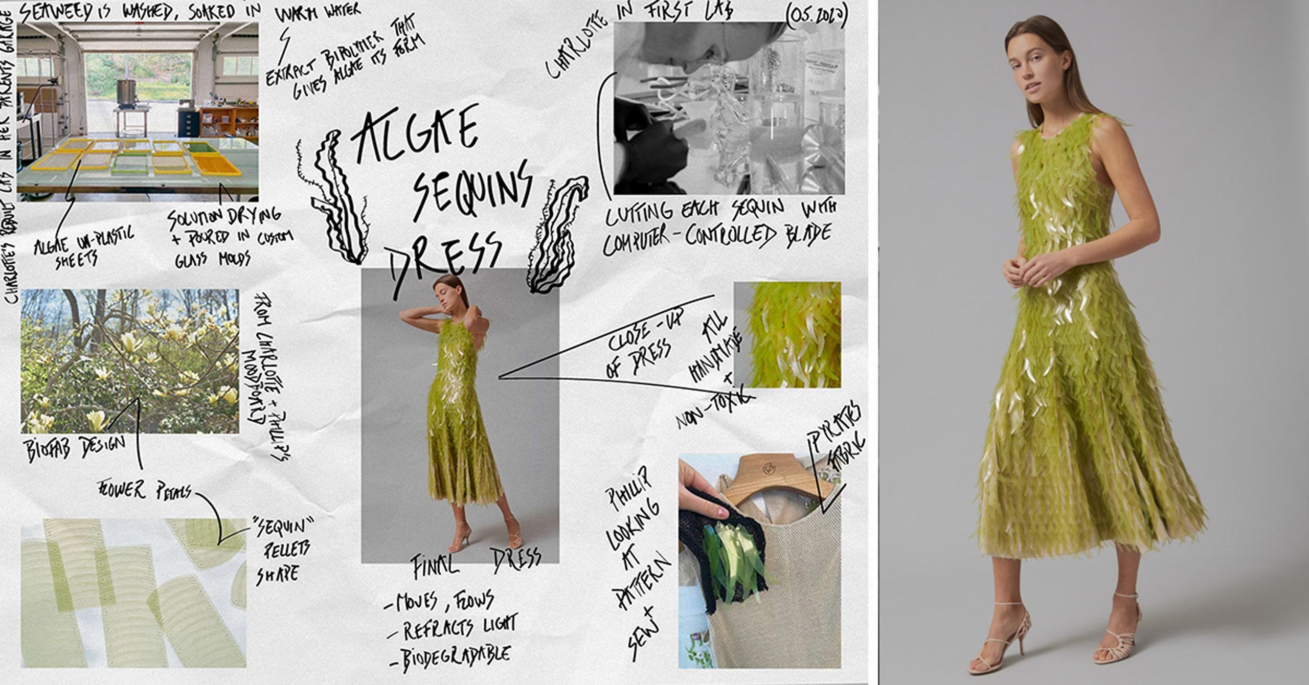 ¡¿Quéeee?! Un vestido con lentejuelas hechas de algas y tela ¡libre de carbono!