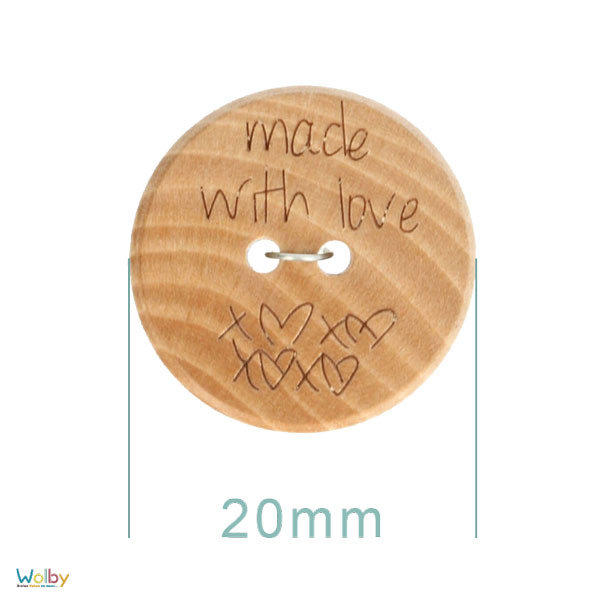Houten knoop, made with love