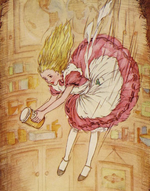 Alice Wonderland Falling Down Rabbit Hole
