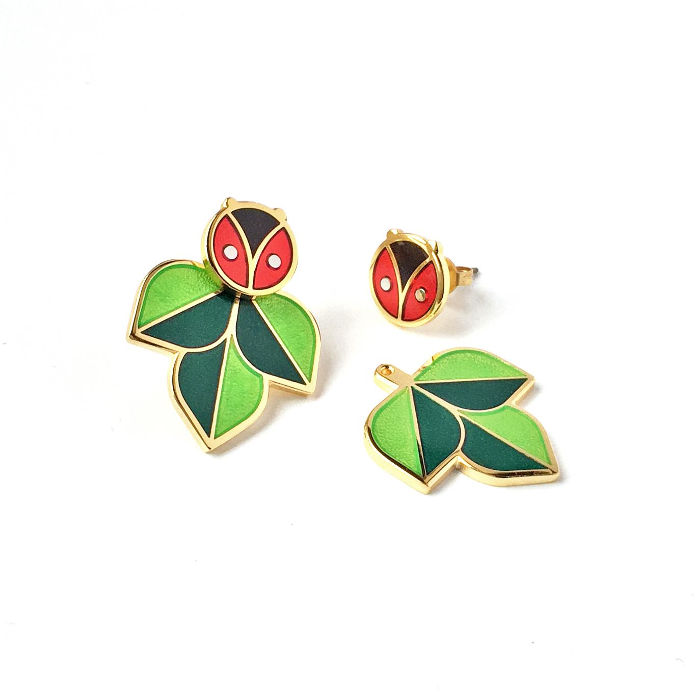 Ladybug Earrings with Leaf Ear Jackets
