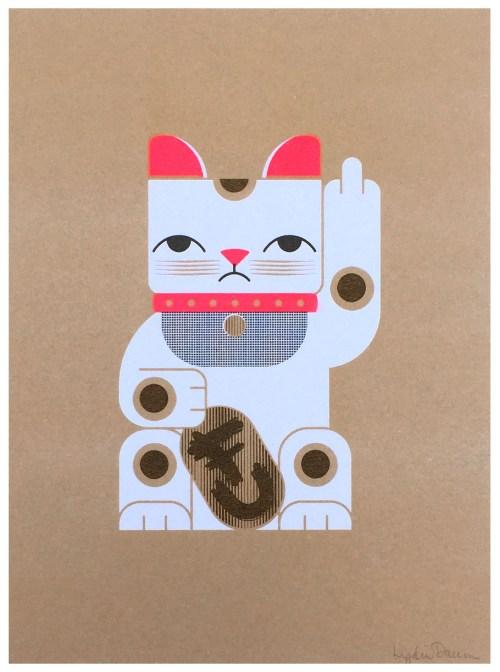 Maneki Neko FU Kitty Risograph Print